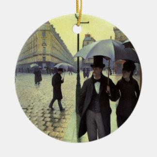 ギュスターブCaillebotte著パリの通りの雨の日 セラミックオーナメント