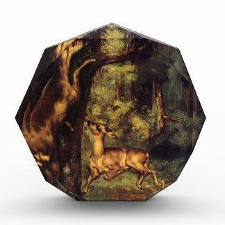 ギュスターブCourb著森のオスおよびメスのシカ 表彰盾