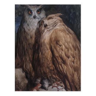 ギュスターブDore著2羽のフクロウ ポストカード
