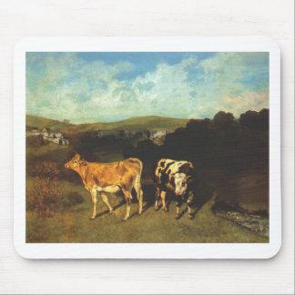 ギュスターヴ・クールベ著白いBullそしてブロンドの雌牛 マウスパッド