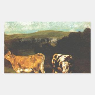 ギュスターヴ・クールベ著白いBullそしてブロンドの雌牛 長方形シール