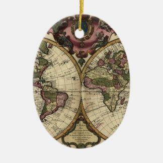 ギヨームde L'Isle 1720年著旧式な世界地図 セラミックオーナメント