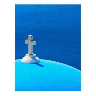 ギリシャのキクラデス諸島の島、Santorini、Oiaの教会 はがき