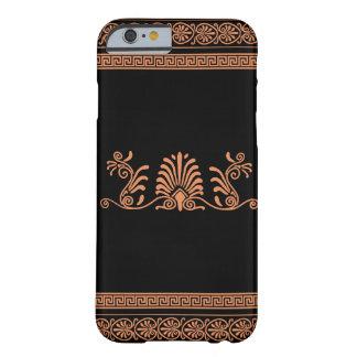ギリシャのスタイルの黒いおよびオレンジ花柄 BARELY THERE iPhone 6 ケース