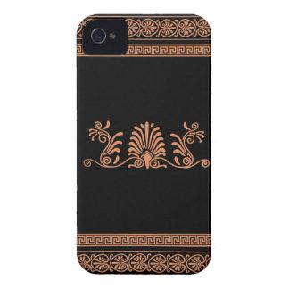 ギリシャのスタイルの黒いおよびオレンジ花柄 Case-Mate iPhone 4 ケース