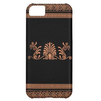 ギリシャのスタイルの黒いおよびオレンジ花柄 iPhone5Cケース