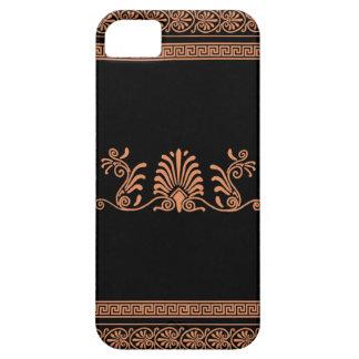 ギリシャのスタイルの黒いおよびオレンジ花柄 iPhone SE/5/5s ケース