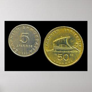 ギリシャのドラクマの硬貨 ポスター