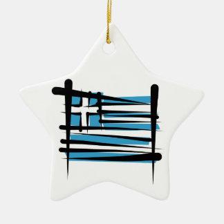 ギリシャのブラシの旗 セラミックオーナメント