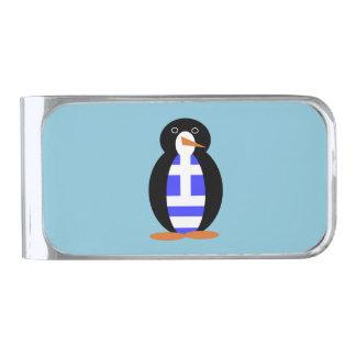 ギリシャのペンギン 銀色 マネークリップ