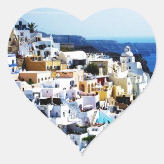 ギリシャの写真のSantoriniの島 ハートシール