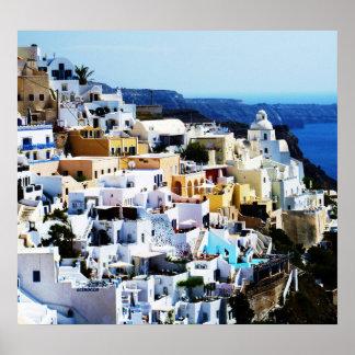 ギリシャの写真のSantoriniの島 ポスター