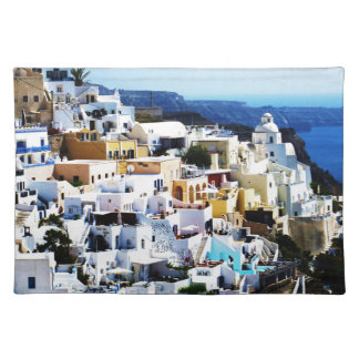 ギリシャの写真のSantoriniの島 ランチョンマット