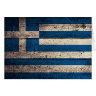 ギリシャの古い木の旗 カード