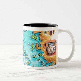 ギリシャの島の地図 ツートーンマグカップ