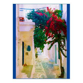 ギリシャの島の村の通り ポストカード