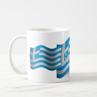 ギリシャの振る旗 コーヒーマグカップ