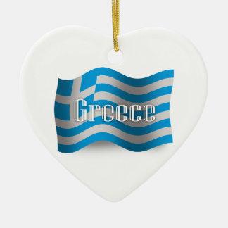 ギリシャの振る旗 セラミックオーナメント