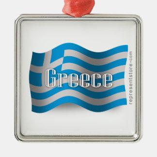ギリシャの振る旗 メタルオーナメント