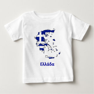 ギリシャの旗の地図 ベビーTシャツ