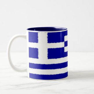 ギリシャの旗 ツートーンマグカップ