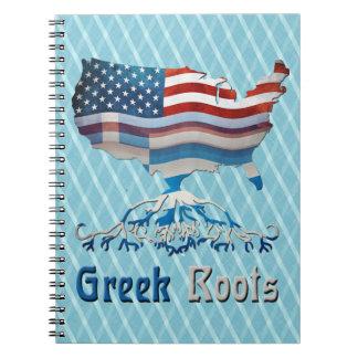 ギリシャの米国旗のメモ帳 ノートブック