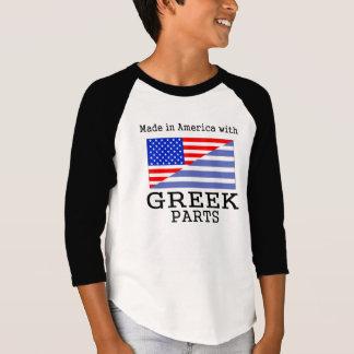 ギリシャの部品が付いているアメリカで作られる Tシャツ