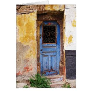 ギリシャの青いドア-クレタ カード