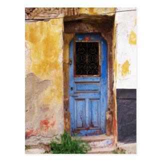 ギリシャの青いドア-クレタ ポストカード