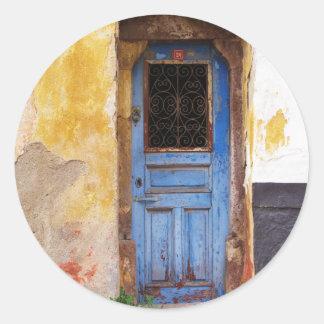 ギリシャの青いドア-クレタ ラウンドシール