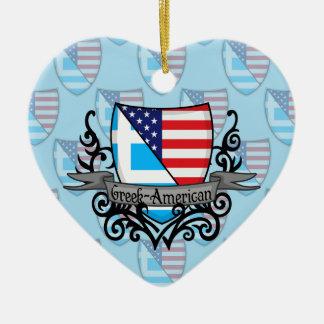 ギリシャアメリカの盾の旗 セラミックオーナメント