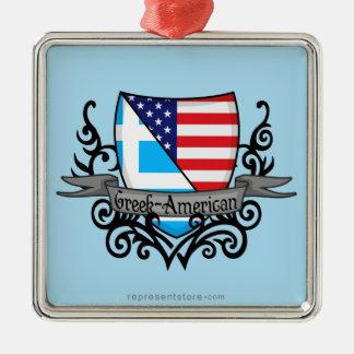 ギリシャアメリカの盾の旗 メタルオーナメント