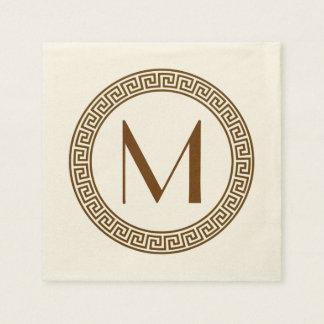 ギリシャ人の鍵のデザインのモノグラム スタンダードカクテルナプキン