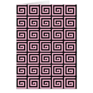 ギリシャ人の鍵のデザイン-ピンクおよび黒 カード