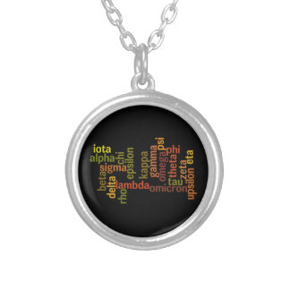 ギリシャ文字(単語の雲) シルバープレートネックレス