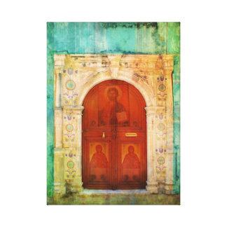 ギリシャ正教手塗りのイエス・キリストアイコンドア キャンバスプリント