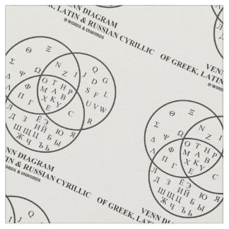 ギリシャ語、ラテン及びロシアのなシリルのVennの図表 ファブリック
