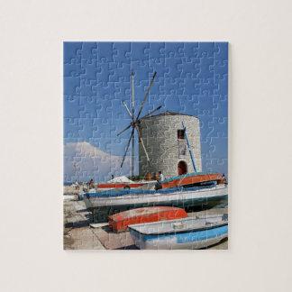 ギリシャ、コルフ島の古い風車、パズル ジグソーパズル