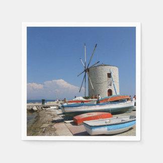 ギリシャ、コルフ島の古い風車、紙ナプキン スタンダードカクテルナプキン