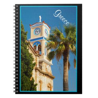 ギリシャ-ヤシの木が付いている正統のギリシャ教会 ノートブック