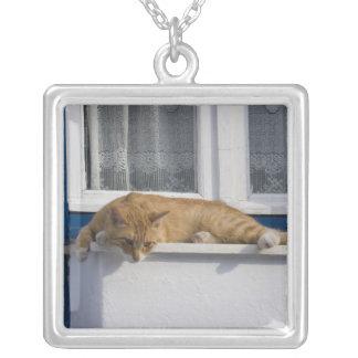 ギリシャ、Mykonos。 好奇心が強いオレンジ虎猫猫の一見 シルバープレートネックレス