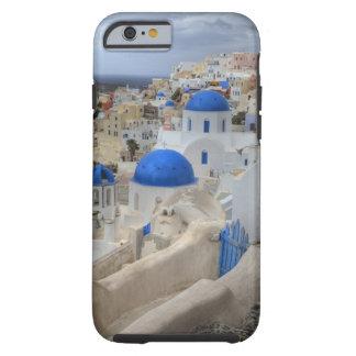ギリシャ、Santorini。 3の鐘桜そして青いドーム ケース