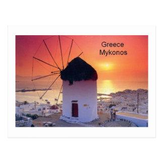 ギリシャMykonosの日没(St.K) ポストカード