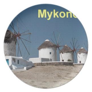 ギリシャMykonosの風車(Aggel) プレート