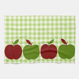 ギンガムおよびりんご キッチンタオル