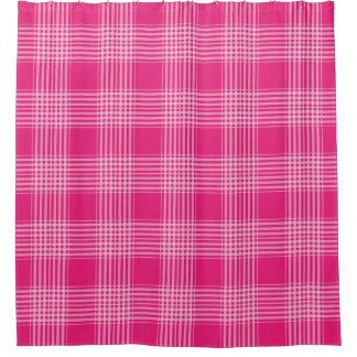 ギンガムのチェック模様のピンクおよび白いシャワー・カーテン シャワーカーテン