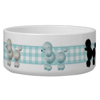 ギンガムのプードル犬ボール 犬用ご飯皿