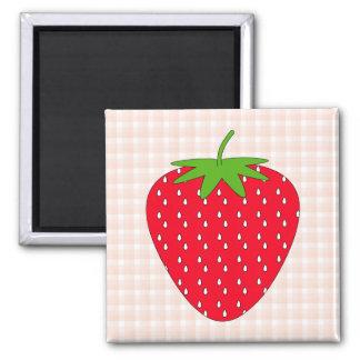 ギンガムの点検の赤いいちご マグネット