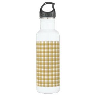 ギンガムの点検パターン。 タンおよび白 ウォーターボトル