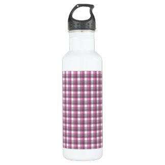 ギンガムの点検パターン。 ピンク、灰色、および白 ウォーターボトル